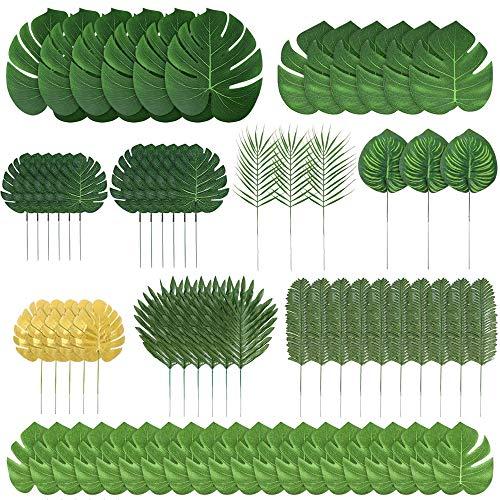 HUAESIN 70pcs Hoja Palmera Artificial Decoracion 10 Tipos Hojas Tropicales Artificiales Palma Planta Verde para Imitacion Hawaiana Luau Party Selva Playa Tema Fiesta Boda Exterior Interior