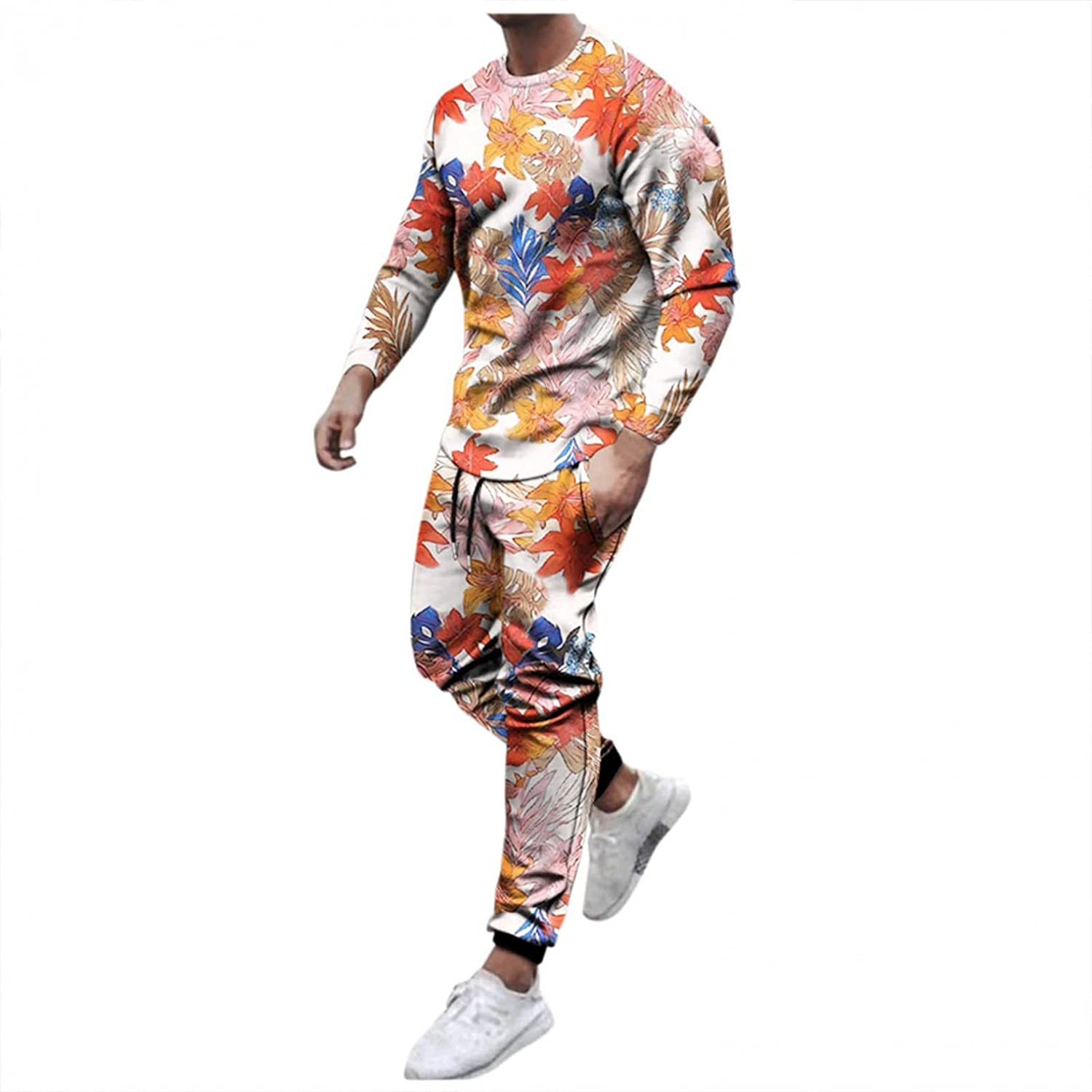 JSPOYOU Men's Printed Sweatsuits 2 Piece Outfit Long Sleeve Sweatshirt and Sweatpants Set Hipster Slim Fit Activewear