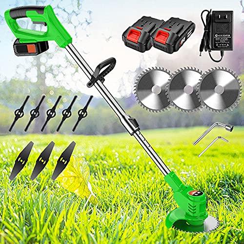 24V Desbrozadora Eléctrica con Batería, Multifuncion Desbrozadora Automática, Portátil, para El Hogar, Jardín, para Trabajos De Jardinería,Green Cordless strimmer
