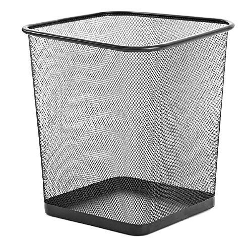 Zuvo Papelera cuadrada de malla metálica ligera negra paquete de 2 unidades (cuadrado)