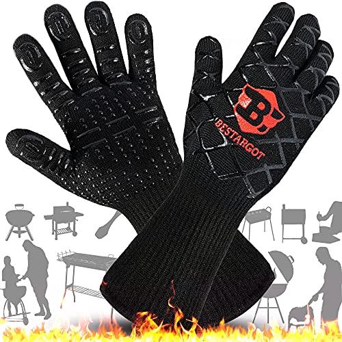 Bestargot Grillhandschuhe BBQ Handschuhe Hitzebeständig Ofenhandschuhe XXL Silikon Rutschfeste Topfhandschuhe Extra Lange Backhandschuhe Kochhandschuhe für Grill Küche