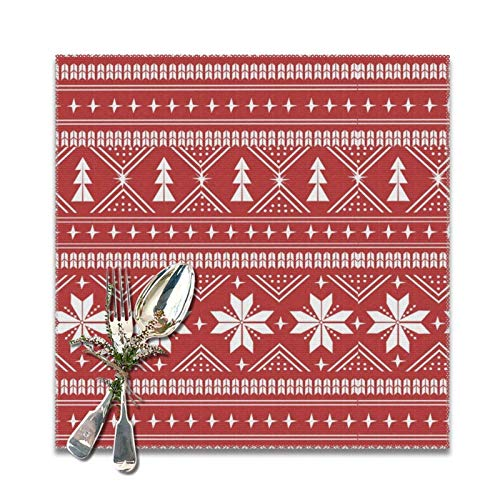 Lou Chapman Nordic Christmas Minimal Sweater Giftwrap Holiday Red Placemats for Dining Table Set of 6 Decorations Washable Xmas New Year Kitchen Holiday Table Placemat,12 x 12 inches