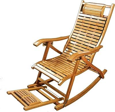 Amazon.com: Silla mecedora plegable de bambú para dormitorio ...
