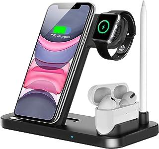 QI-EU Bezprzewodowa ładowarka, 4 w 1 z certyfikatem Qi stacja ładująca kompatybilna z Apple Watch Airpods Pro iPhone 12/1...