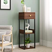 $23 » Side Table | End Table with Shelf for Storage, Wood Tall End Table Sofa Couch Side Coffee Table Simple Design Multipurpose Modern Home Furniture, 11×11×31.5in