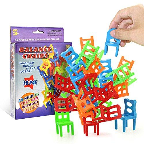 Leeofty 18 Stücke Balancing Stühle Set Assortierte Stapelstühle Spiel Kinder Party Favor Stapeln Spielzeug