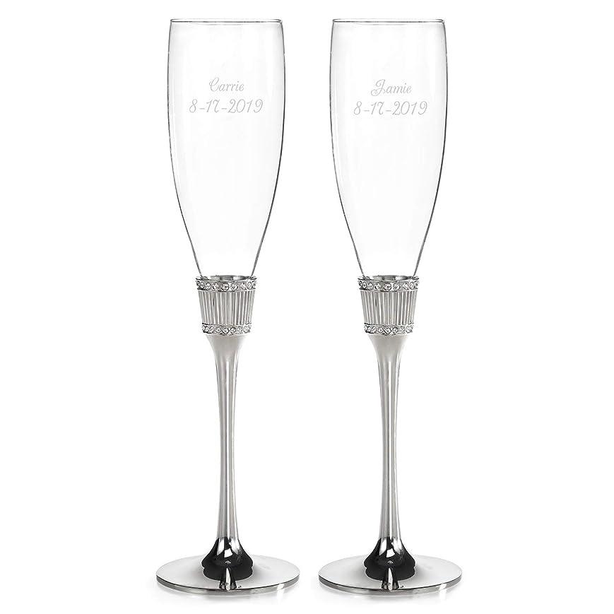 邪魔する台無しに浜辺Romanesque フルート 2個セット カスタマイズ可 刻印入り ウェディングアクセサリー 乾杯用グラス