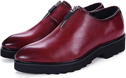 JUJIANFU-Chaussures Confortables Oxfords de Mode Hommes Bout Pointu Talon Plat en Cuir PU Couleur Unie Chaussures de Sport (Couleur   Rouge, Taille   8.5MUS)