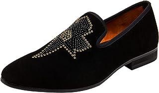 Mocassin Hommes Velours Mode Slip on Brillant Rivets Loafers Dressing Party Décontractées Chaussure Chaussures de Conduite...