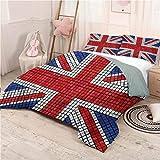 Union Jack Bed Sheets Set Queen, Ultra Soft Microfiber Bedding Mosaic British Flag Dorm Bedding - Queen 90'x90'