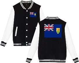 ZXMM Unisex Flag of The Turks and Caicos Islands Velvet Baseball Uniform Jacket Coat Sweater Sweatshirt