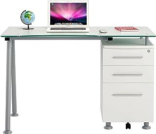 Ofichairs Mesa de Escritorio Strong Mesa para odenador cajones Cristal Color Blanco