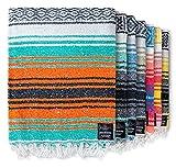 Authentic Mexican Blanket - Beach Blanket, Handwoven Serape Blanket, Perfect as Beach Blankets, Picnic Blanket, Outdoor Blanket, Yoga Blanket, Camping Blanket, Car Blanket, Woven Blanket (Mandarin)