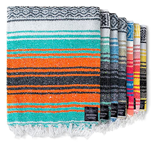 Authentic Mexican Blanket - Beach Blanket  Handwoven Serape Blanket  Perfect as Beach Blankets  Picnic Blanket  Outdoor Blanket  Yoga Blanket  Camping Blanket  Car Blanket  Woven Blanket (Mandarin)