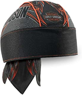 HARLEY-DAVIDSON Men's Tribal Edge Piping Perforated Headwrap, Black HW29364