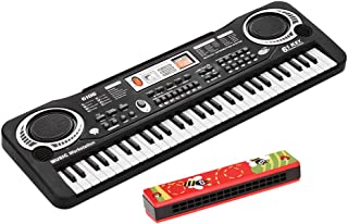 61 Keys Electronic Digital Piano Keyboard with Dual Speakers Microphone USB/Battery Powered + Tremolo Harmonica 16 Holes K...