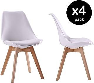 Beneffito Conjunto de 4 sillas escandinavas Blanco con