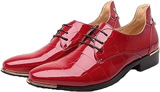 Hombres Derbys Zapatos Formales de Charol de Color sólido Zapatos de Cuero con Cordones de Ocio Antideslizantes con Punta ...