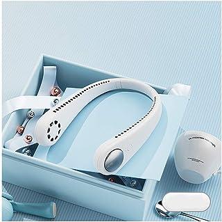 Ventilador De Cuello Colgante Perezoso, Mini Ventilador USB Manos Libres Portátil con 3 Velocidades Batería Recargable De Bajo Ruido Sin Aspa del Ventilador, para El Hogar Al Aire Libre,Blanco