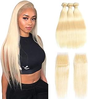 613 Bundles with Closure 613 Platinum Blonde Human Hair 3 Bundles with Transparent Color Lace Closure 4x4 Brazilian Straig...