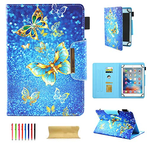 UGOcase 10 Inch Tablet Universal Case, Slim Kickstand Folio PU Leather Wallet Case Cover for Apple iPad 9.7'/iPad Air, Samsung Galaxy Tab, RCA 10 Viking, iRulu & More 10' Tablet, Gold Butterfly