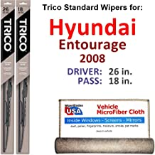 Wiper Blades for 2008 Hyundai Entourage Driver & Passenger Trico Steel Wipers Set of 2 Bundled with Bonus MicroFiber Interior Car Cloth
