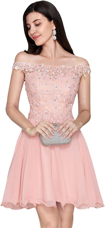 Nanger A lijn baljurken, kort, schoudervrij, met applique cocktailparty, kleding voor thuis roze