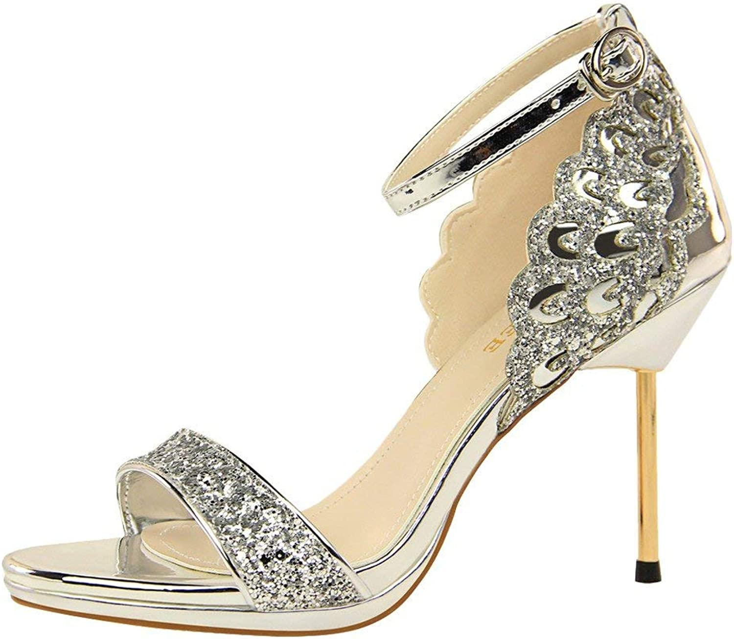 Gcanwea Women's Stiletto High Heel Open Toe Dress Heeled Sandals Summer Fashion Breathable Ladies Elegant Rubber Sole Sequins Skinny Sexy Comfortable White 5 M US Stiletto Sandals