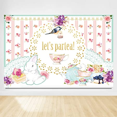 9x16 FT Tea Party Vinyl Photography Backdrop,Striped Teapots Cups Silhouettes Classical Calligraphy Pattern Background for Party Home Decor Outdoorsy Theme Shoot Props