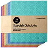 Swedish Dishcloth Cellulose Sponge Cloths - Bulk 10 Pack of Eco-Friendly No Odor Reusable ...