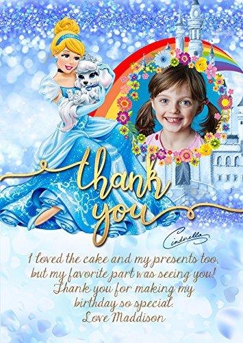 Gepersonaliseerde Disney Princess Assepoester Verjaardagsfeest uitnodigingen Dank u kaart, Disney Princess party Dank u kaart X 8 Kaarten + Gratis Enveloppen