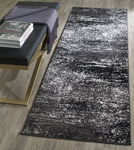 Safavieh Adirondack Collection ADR112A Modern Abstract Runner, 2′ 1″ x 6′, Silver/Black