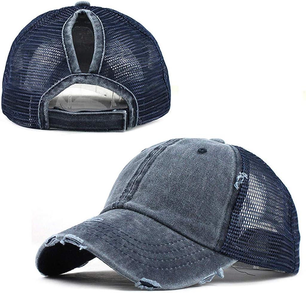 Womens Ponytail Hat 2021 Mens Baseball Cap Trucker Dad Hat Adjustable Distressed Vintage Unisex Unconstructed Hat
