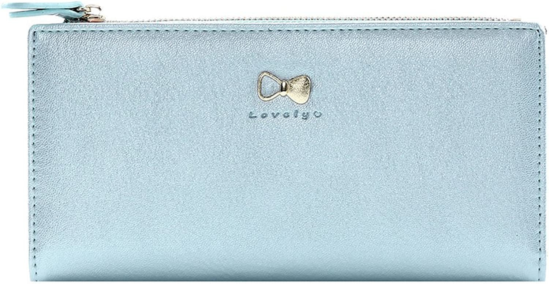 Damara Womens Stylish Bowknot Zipper Bifold Credit Card Holder,bluee