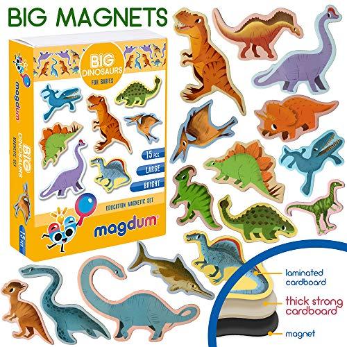 MAGDUM Dino Magnet Set für Kinder - Echte Große Kühlschrank Magnete für Kleinkinder - Magnetisches Theater Lernspielzeug - Spiele für 3 Jährige - Magnet Spiele für Kinder - Tiere Spielzeug