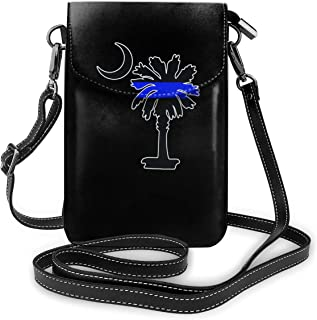 Small Crossbody Bags SOUTH CAROLINA PALMETTO MOON POLICE THIN BLUE LINE Cell Phone Purse Wallet Lightweight Crossbody Handbags For Women And Teen Girls