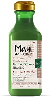 Maui Moisture Thicken & Restore + Bamboo Fiber Sulfate Free Shampoo, 13 Ounce, Helps Soften Treated, Natural, or Transitio...