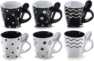 Tasses à café expresso en Céramique. Lot de 6 tasses en céramique noires et blanches et leurs cuillères assorties