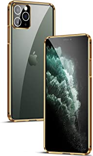 MOONCASE iPhone 11 Pro Max Case, Ultra-thin Metal Frame Transparent Tempered Glass Back Camera Lens All-inclusive Hard She...