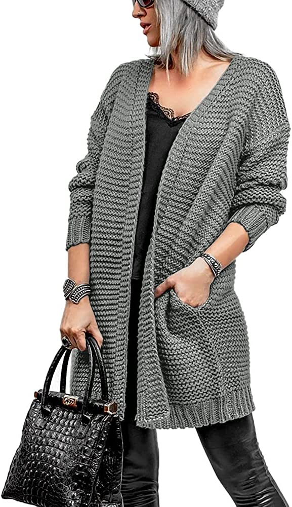 Coololi Women Soft Long Sweater Cardigans Oversized Open Front Chunky Knitwear with Pocket
