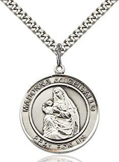 Sterling Silver Round Patron Saint Medal Pendant, 1 Inch