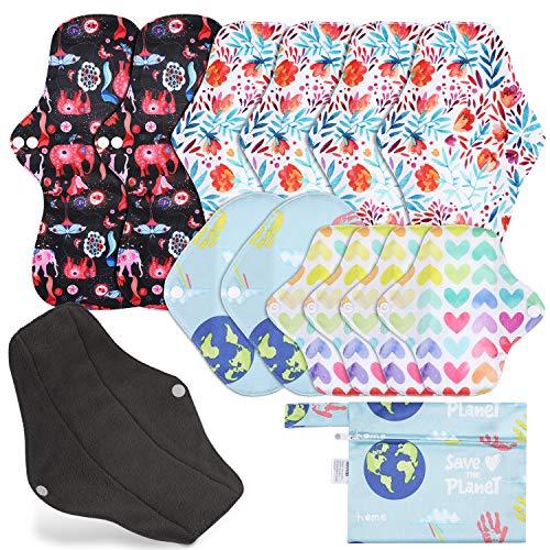 Rovtop 12 Stück Menstruationskissen Wiederverwendbare Damenbinden mit 4 Größen Slipeinlagen für Damen Damenbinden
