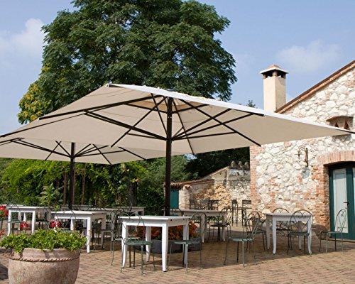 SCOLARO Sonnenschirm–Capri quadratisch 6x 6m Acryl Dralon 350g/m2Terracotta A2Mast weiß ohne Volants