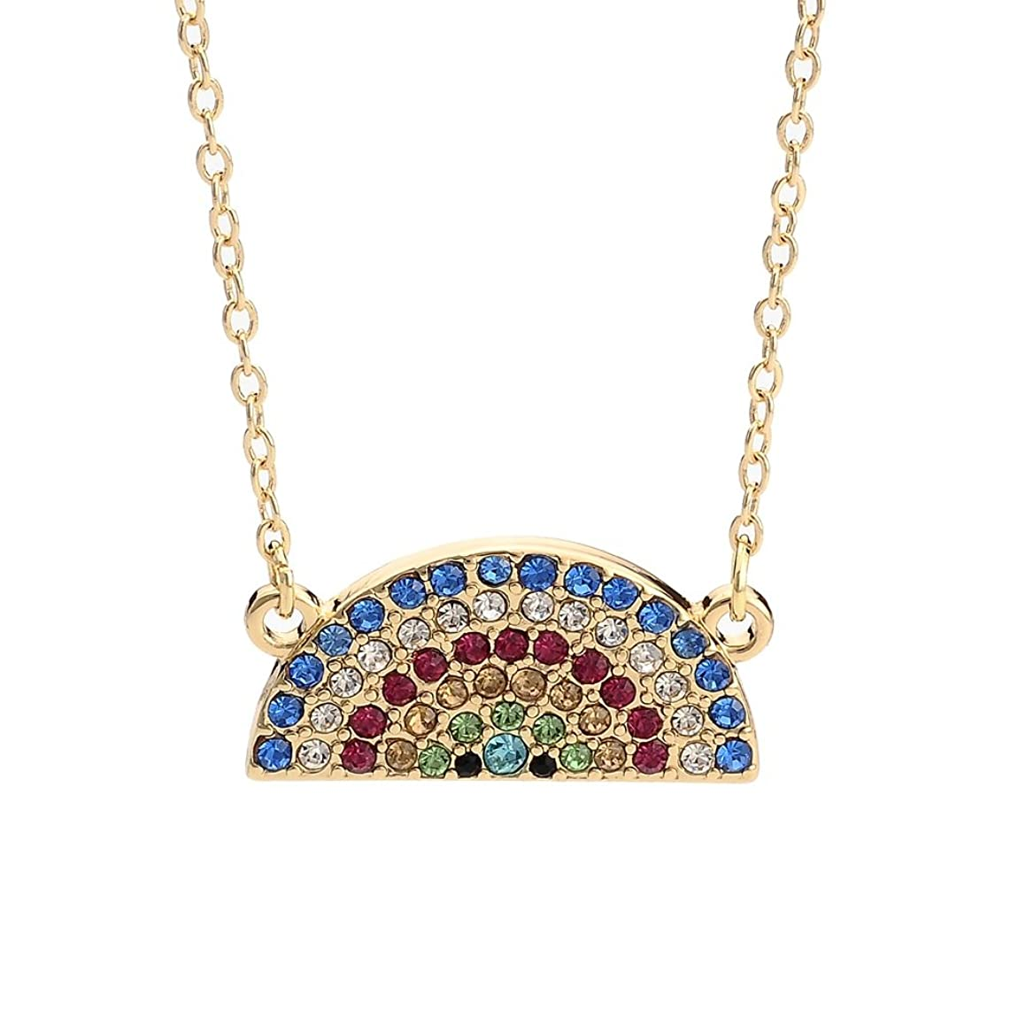 NOUMANDA Delicate Colorful Crystal Rainbow Pendant Statement Necklace Gifts for Women Girls