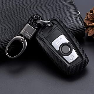 Royalfox(TM) Soft Silicone Carbon Fiber Style Smart keyless Remote Key Fob case Cover for BMW 1 2 3 4 5 6 7 M Series,BMW X...