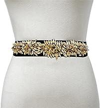 SSMDYLYM Dames Elastische Riem Strass Ingelegd Rijst Kralen Riem Fashion Decoratie Kleine Taille Zegel (Color : C, Size : ...