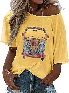 SADUORHAPPY Womens Girls T-Shirt, Cartoon Printed Tee Summer Short Sleeves O-Neck Casual Tee Blouse Tops