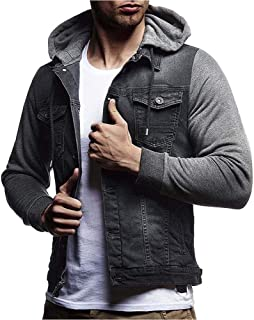 EbuyChX Mens Denim Jacket Hooded Long Sleeve Hoodie Gray L
