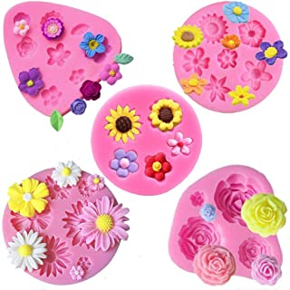 Flower Fondant Cake Molds-5 Pcs-Daisy Flower,Rose Flower,Chrysanthemum Flower and Small Flower,Candy Silicone Molds Set fo...