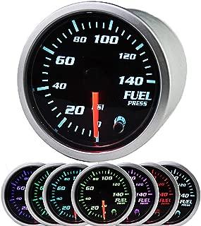 MotorbyMotor Fuel Pressure Gauge 140 PSI Electronic Fuel Gauge Kit 7 Color LED Digital Display Fuel Gauge-Universal-Analog & Digital Readouts -Smoked Lens - for Car & Truck - 2-1/16